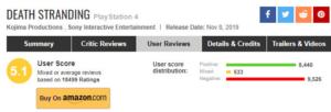デススト低評価レビュー大量削除の大手サイトMetacritic